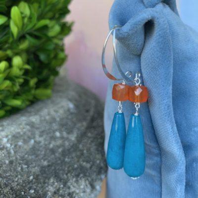 Aqua Blue & Orange Carnelian Earrings